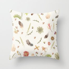 Feathers among Wildflowers Throw Pillow