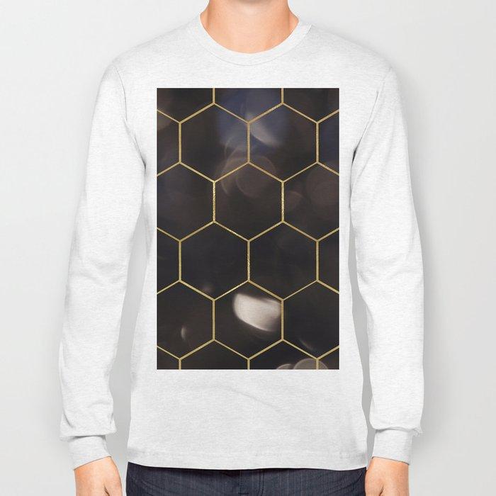 Dark bokeh gold hexagons Long Sleeve T-shirt