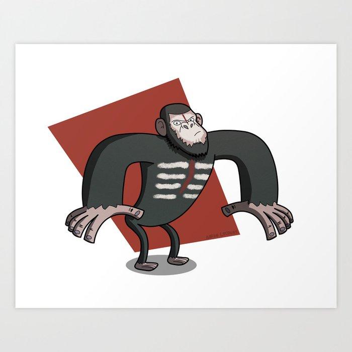 Caesar - Dawn of the Planet of the Apes Cartoon Art Print