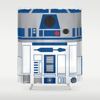 r2d2 Shower Curtains featuring R2D2 by Sam Del Valle
