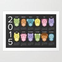 calendar 2015 Art Prints featuring Kawaii animals 2015 calendar by Petits Pixels