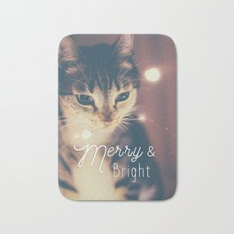 Merry and bright, cute cat and fairy lights Bath Mat