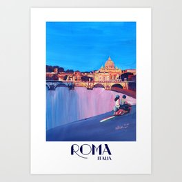 Rome Scene with Motorcycle and view of Vatican with Dome of St Peter Art Print