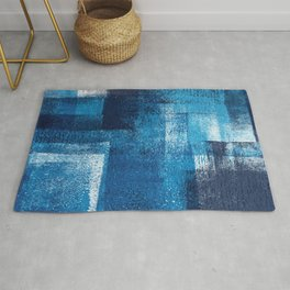 Just Cyan, White and Dark Blues Rug
