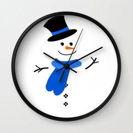 Snowman Blue Wall Clock