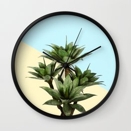 Agave Plant on Lemon and Teal Wall Wall Clock