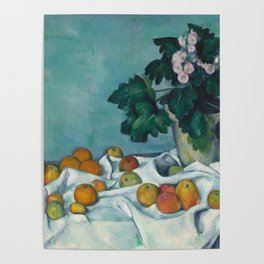 Paul Cézanne - Still Life with Apples and a Pot of Primroses (1890) Poster