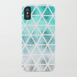 Teal blue ombre geometric triangles pattern  iPhone Case