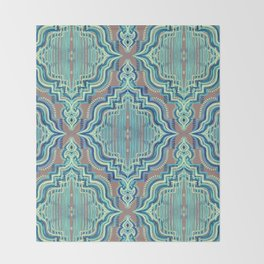 Marker Moroccan in Aqua, Cobalt Blue, Taupe & Teal Throw Blanket