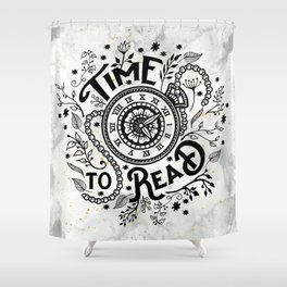 Time to Read - Black Shower Curtain