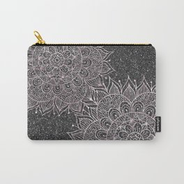 Elegant faux black blush pink glitter floral mandala Carry-All Pouch