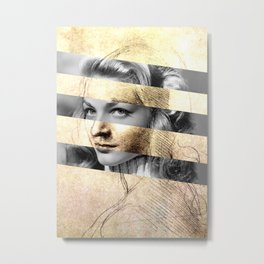 "Leonardo Da Vinci's ""Head of a Woman"" & Lauren Bacall Metal Print"