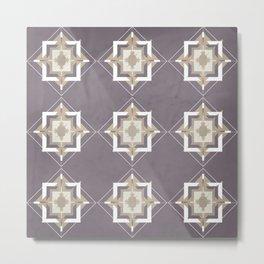 Aubergine and Taupe Mosaic Pattern Metal Print