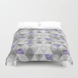 GRAPHIC PATTERN Sparkling triangles | silver & purple Duvet Cover