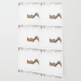 Little squirrel sitting in the snow #decor #society6 #buyart Wallpaper
