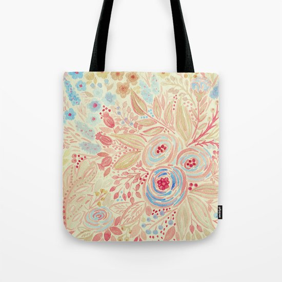 Watercolor .Flower meadow . Tote Bag