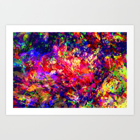 Abstract Tropical Flowers Art Print