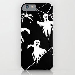 White Ghosts spider web Black background iPhone Case