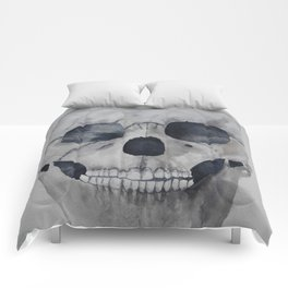 Human skull watercolour Comforters