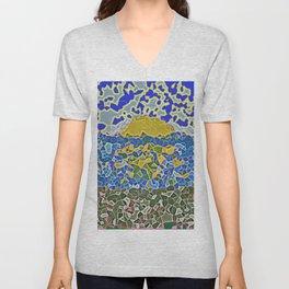 Sea sunset realistic mozaic print Unisex V-Neck