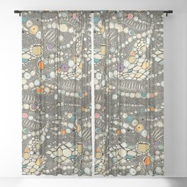 iguana skin black pop Sheer Curtain