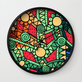 Doodle Art Flower - Pathways - Red Blue Wall Clock