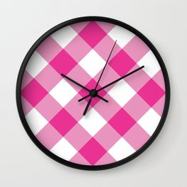 Gingham - Pink Wall Clock