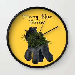 Merry Blue Terrier (Yellow Background) Wall Clock