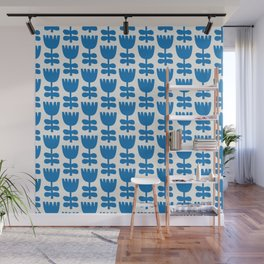 Scandi Floral | Blue Wall Mural