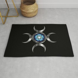 Inverted pentagram with triple goddess Rug