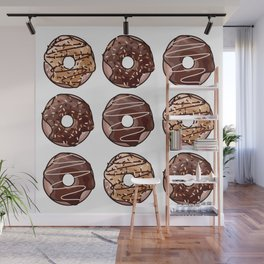 Chocolate Donuts Pattern Wall Mural