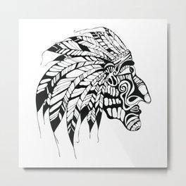 hand drawn Tattoo, Native American Indian chief Metal Print