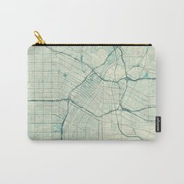 Los Angeles Map Blue Vintage Carry-All Pouch