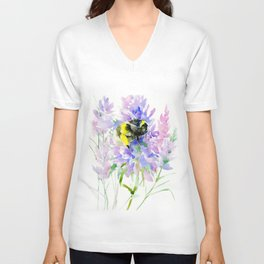 Bumblebee and Lavender Flowers, nature bee honey making decor Unisex V-Neck