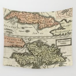 Vintage Map of The Caribbean Islands (1630) Wall Tapestry