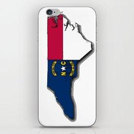 North Carolina Map with North Carolinian Flag iPhone Skin