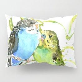 Budgies, love bird green blue decor Pillow Sham