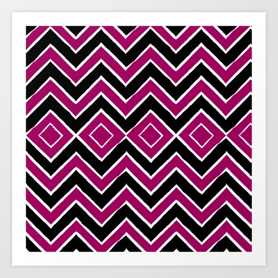 Pink Black Tribal Chevron Art Print
