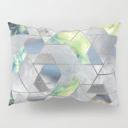 Geometric Translucent Agate and Mother of pearl Pillow Sham