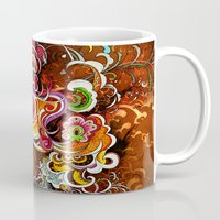 peacock Mugs featuring Peacock by Nick La
