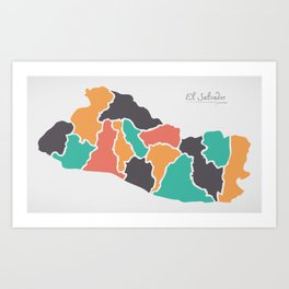 El Salvador Map with states and modern round shapes Art Print