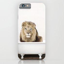 Lion in a Vintage Bathtub (c) iPhone Case