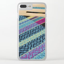 Striped point twill, turquoise Clear iPhone Case