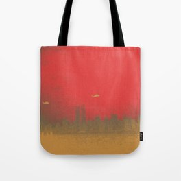 World Trade Center with Helicopters 1998 Tote Bag