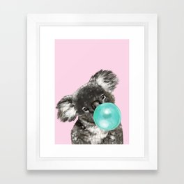 Playful Koala Bear with Bubble Gum in Pink Framed Art Print
