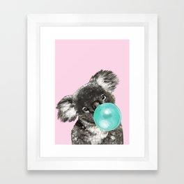 Playful Koala Bear with Bubble Gum in Pink Framed Art Print