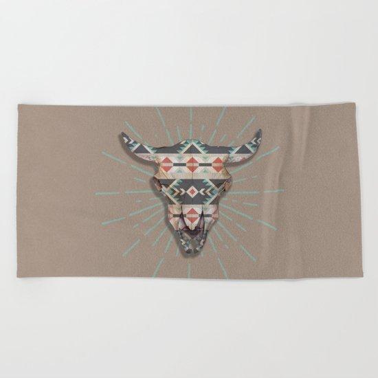 Cow Skull Induco Beach Towel
