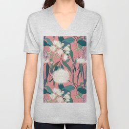 Australian Gumnut Eucalyptus Floral in White  + Dusty Peach Unisex V-Neck