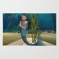 little mermaid Area & Throw Rugs featuring Little Mermaid by Design Windmill