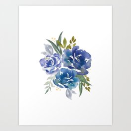 Royal Blue Bouquet Art Print